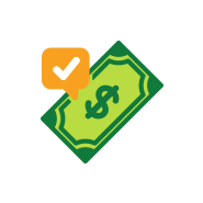 Affordable care icon of a dollar with a check mark on it