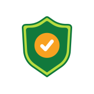Satisfaction guarantee icon of a shield with a check mark